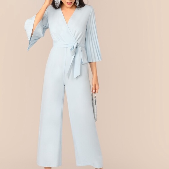Pleated Sleeve Wrap Belted Wide Leg Jumpsuit